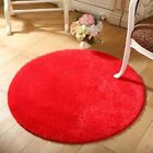 Round Fluffy Rug Anti-Skid Shaggy Dining Room Bedroom Carpet Floor Comfortable