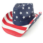 USA Flag Patriotic Print Paper Straw Cowboy Hat w/ Leather Band (FREE SHIPPING)