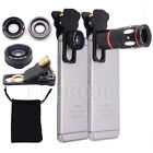 Clip-on Zoom Telescope Lens+Fisheye+Wide Angle+Macro Lens For iPhone 8 7 Samsung