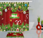 Merry Xmas Baubles Fir Branches Candy Cane Shower Curtain Set Waterproof Fabric