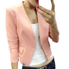 Fashion Women OL Style Nine Quarter Puff Sleeve Blazer Elegant Formal Suit Coat