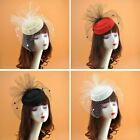 Внешний вид - Womens Felt Fascinator Hat Topper Mesh Fishnet Veil Hair Clips Wedding Cocktail