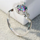 Women Fire Mystic Topaz Ring Solid Rainbow Sterling Silver Ring Wedding Jewelry