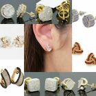 Created White Sapphire 18K yellow gold filled Brilliant Screwback Stud Earrings image