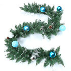 US! Christmas Artificial Green Garland Rattan Xmas Fireplace Decor w/ LED Lamp E