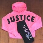 Внешний вид - NWT JUSTICE Girls 8 10 12 Pink Logo Hoodie & Shooting Stars Leggings Outfit