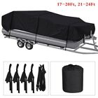 17-24Ft Pontoon Boat Cover Waterproof Heavy Duty Fabric Fishing Ski Trailerable image