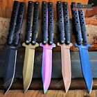 """Camping Hunting 8.5"""" Butterfly Knife Style Pocket Folding Knife Assisted Open"""