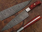 Beautiful Custom hand made Damascus steel Chef/Kitcen knife. (ZE-1002-Red)