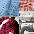 Winter Warm Hand Chunky Knit Blanket Sofa Bed Yarn Wool Bulky Bedding 120x150cm image
