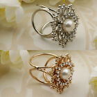 Rhinestone Women Trio Ring Silk Scarf Buckle Clip Brooch Slide Jewelry Pearl