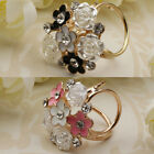 Flower Women's Trio Scarf Ring Silk Scarf Buckle Clip Brooch Slide Jewelry