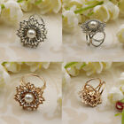 Women Lady Crystal Flower 3 Ring Silk Scarf Buckle Clip Holder Brooch Gift