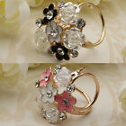 Women Lady Flower Trio Scarf Ring Silk Scarf Buckle Clip Holder Brooch Gift