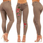 Womens Beige Embroidered Jeans Stretchy Rose Print Sexy jeans Size 6 8 10 12 14