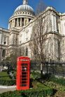 St Paul's Cathedral red telephone box London England photo picture poster print