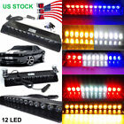 12 LED Strobe Light Bar Car Emergency Warning Flash Visor Windshield Lighting