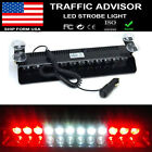 12 LED FLASH STROBE LIGHT BAR WINDSHIELD DASH EMERGENCY WARNING LAMP RED WHITE