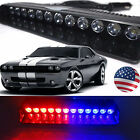12 LED Car Emergency Warning Visor Windshield Strobe Light Bar Lamp Red Blue