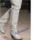 2019 Women Real Lady Boots Sheep Leather Tapered Heels Over Knee High Boots Q198