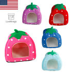 Soft Strawberry Pet Bed Warm House Cushion Blanket Dog Cat Doggy Cave Kennel Pad