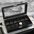 6/12 Slots Watch Box for Men Luxury Leather Organizer Storage Display Case Black