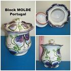 "Beautiful "" Block Molde "" Potugal by Diane Kuligowski Floral Sugar Bowl NICE"