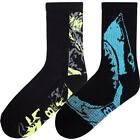K. Bell Men's Shark Hi-Top Crew Socks One Size 2 Pairs - KCMS15H019-02