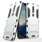 For Nokia 2.1/2V/X6/6.1 Plus 2018 Shockproof Armor Stand Dual Rubber Case Cover