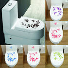 Flowers Toilet Seat Wall Sticker Bathroom Decoration Butterfly Decals Decoration