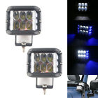 "2x 4"" 45W 12 LED Work Light Combo Beam Modified Off-road Vehicle Lamp White Blue"
