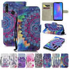 For Huawei P Smart 2019/P30 P20 P9 Lite Patterned Leather Wallet Flip Case Cover