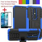 For Nokia 3.1/7.1 Shockproof Armor Stand Heavy Duty Case+Black Tempered Glass