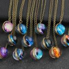 Galaxy System Planet Pendant Necklace Double Sided Glass Dome Ball Jewelry Acces