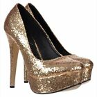 WOMENS LADIES SPARKLY GLITTER PLATFORM STILETTO HEELS SHOE PARTY EVENING GOLD
