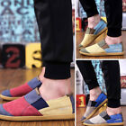 Men Casual Patchwork Sport Breathable Sneakers Canvas Loafers Slip On Flat Shoes