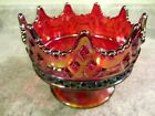 Christmas, 2010 Fenton Red Carnival Glass Luxemberg Crown Bowl