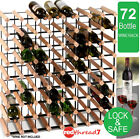 Timber Wine Rack 72 Bottle Wood Steel Cellar Organiser Stand Wooden Collection