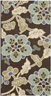Country & Floral Rug - Veranda Polypropylene -Chocolate/Aqua