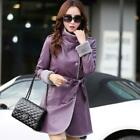 2019 Women's Fur Lined Leather Lamb Lapel Belt Hooded Jacekt Winter Coat Outwear