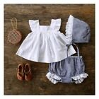 US Summer Newborn Baby Girl Clothes Princess Dress+Pants Shorts Outfit Set 0-24M