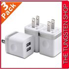 USB Plug Wall Charger 3 Pack 2.1A Dual Charging Block Cube Compatible Phone Xs