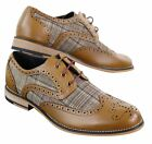Mens Leather Tweed Check Smart Casual Shoes Peaky Blinders Vintage Classic