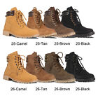 Women's Military Lace Up Ankle Combat Hiking Boots Low Block Heel Work Shoes