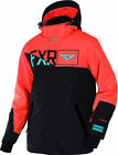 FXR Mens Black/Orange/Teal Squadron Insulated Snowmobile Jacket Snow Snocross