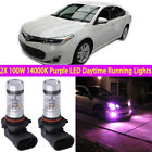 2X 14000K Purple 100W LED Daytime Running Light Bulb For Toyota Avalon 2013-2018