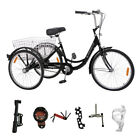 24 Inch 3-Wheel Bike Adult Tricycle Trike Bicycle Cruise W/ Basket Single Speed