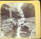 1870s GORGE FALLS & BASIN POOL WATKINS GLEN NY Stereoview Albumen Photo