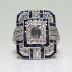 Noble Silver White Topaz & Blue Sapphire Ring Wedding Bridal Women Jewelry 6-10