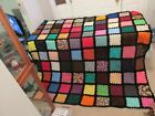"""Crocheted Granny Square Afghan/Blanket Multi-Solid Colored black bordered 81x81"""""""